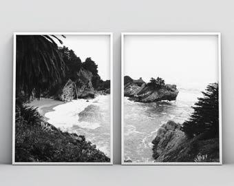 Black and White Tropical Print, Set of 2, 2 Piece Wall Art, Coastal Printable, Photography, Digital Download, Paradise, Palm Trees, Waves
