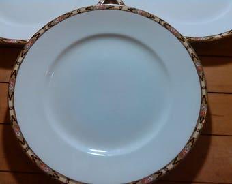 Vintage Porcelain Homer Laughlin Dinner Plates Set of Three U.S.A. c.l.n.