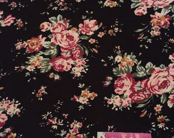 Black Floral Rayon Spandex - Stretchy Knit Fabric