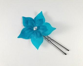 Pic à chignon fleur en soie turquoise, bleu - personnalisable