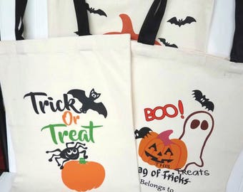 Personalized Halloween Bags, Embroidered Name Treat Bags, Kids Trick or Treat Bags, Halloween Candy Sacks, Halloween Party Favor Bags
