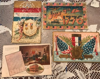 GAR, 1906 Signing of the Declaration of Independence, July 4th 1776, Sons of veterans Vintage Postcards