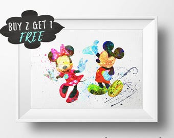 Mickey And Minnie Art Print Poster, Mickey Mouse Wall Art Nursery Decor Printable Artwork Instant Download, Minnie Mouse Girls Room Decor