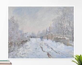 """Claude Monet, """"Snow Scene at Argenteuil"""". Art poster, art print, rolled canvas, art canvas, wall art, wall decor"""