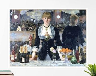 """Edouard Manet, """"A Bar at the Folies Bergeres"""". Art poster, art print, rolled canvas, art canvas, wall art, wall decor"""