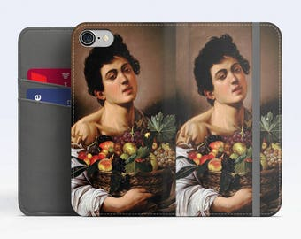 "Caravaggio, ""Boy with a Basket of Fruit"". iPhone 8 Wallet case, iPhone 7 Wallet case  iPhone 6 Plus Wallet case. Samsung Wallet cases."