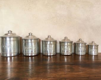 Boxes aluminum Tin 1930 kitchen spice jars french tinplate kitchen boxes