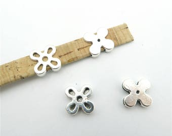 10units For 10mm flat leather slider Antique sliver flower slider flower charms jewelry finding supplies D-1-10-126