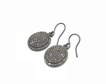 Pave diamond sterling silver oval earrings