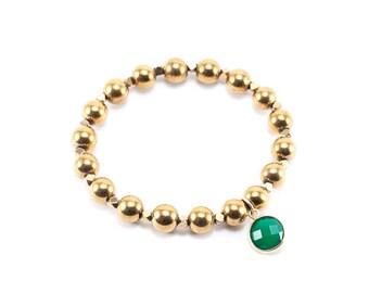 Green Agate Gemstone Charm Hematite Bracelet