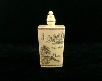 Hand Carved Bone Chinese Snuff Bottle with Intricate Hand Painting!
