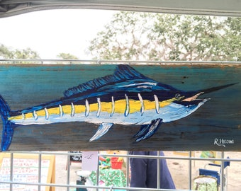 Marlin plank painting