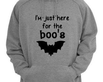 Here for the Boo's Unisex Hoodie Pullover Hooded Sweatshirt Many Sizes Colors Custom Horror Halloween Merch Massacre
