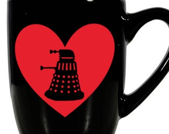 Doctor Who Daleks Exterminate BBC Valentine's Day Love Heart Horror Mug Coffee Cup Gift Home Decor Kitchen Halloween Bar