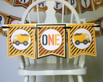 Construction High Chair Banner - Construction Birthday Party Banner - High Chair Decor - First Birthday