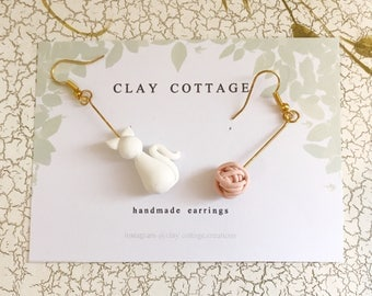 Cat & Yarn Dangle Earrings
