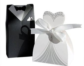 Wedding Favour Boxes 50 pairs Bride and Groom ideal for Bridal table fill with Sweets or gifts 100 boxes in total .