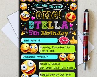Emoji Invitations/ Emoji Party Invitations/ Emoji Birthday/ Emoji Themed Party/ OMG invitation/ Emoji Party/ Emoji Birthday Iinvitation