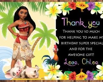 Moana thank you card, Moana birthday thank you card,Moana party thank you card, Moana digital card -digital e
