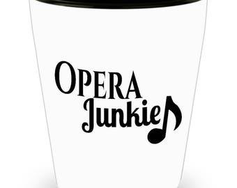Opera  Shot Glass - Opera Junkie - SET OF 3: 1.5 oz Ceramic Shot Glass Made In The USA