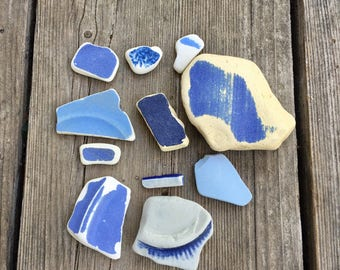 SEA POTTERY Blue Authentic Beach Pottery Pieces