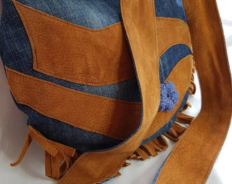 Cowgirl shoulder bag, cross body bag, pigskin, denim, up-cycled, suede,Eco-friendly, Made in Australia