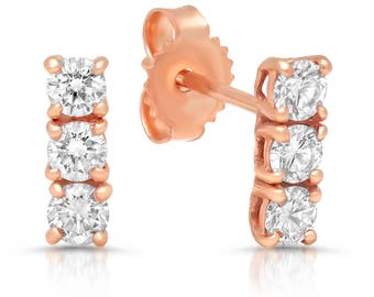 Camille 14k Rose Gold + diamonds studs