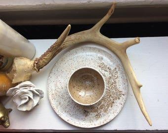 Mucha Inspired Sgraffito Chip and Dip. Handmade, Wheel Thrown Pottery.