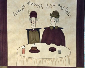 Friends through thick and thin - Fabric Square by Sandy Gervais - Pieces from my Heart Collection