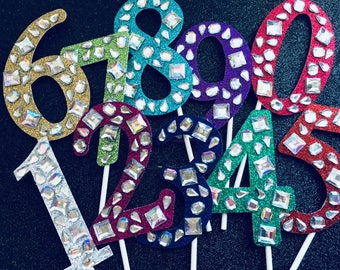 Jeweled Birthday Number Cake Topper