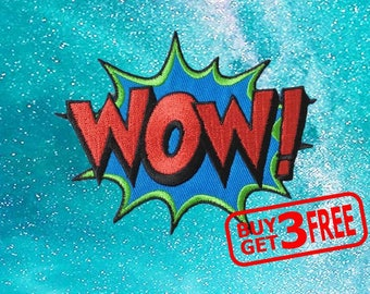 Wow Comic Sound Applique IRON ON PATCH funny patches Badge Wow Patch