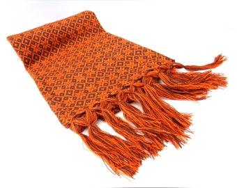 brown and orange mexican rebozo | rebozos de artesania mexicana | shawl, scarf, baby wrap, carrier | mexikaner schal | mexique écharpe |