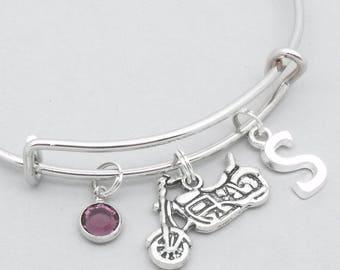 Motorbike monogram initial charm bracelet | motorbike jewelry | motorbike bangle | personalised motorbike gift | motorcycle | birthstone