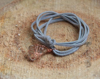 Wire wrapped smokey quartz choker