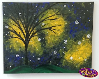 """Acrylic Painting """"Northern Lights"""" 16x20 colorful art paint on canvas aurora borealis abstract tree stars unframed"""
