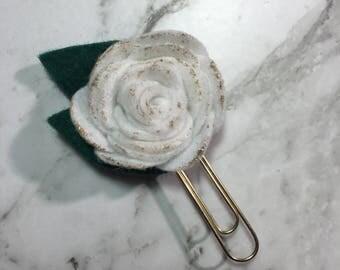 White Glitter Rose Planner Clip
