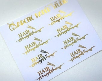 Hair Straightening - FOILED Sampler Event Icons Planner Stickers