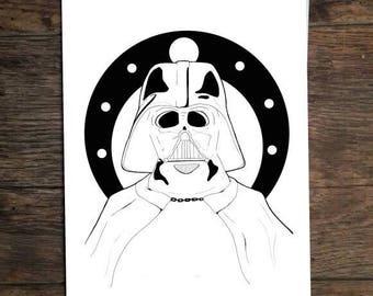 Stars Wars Darth Vader a5 Illustration Print