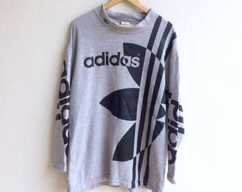 Rare!!! Vintage ADIDAS TREFOIL big logo sweatshirt made in JAPAN gray colour large size