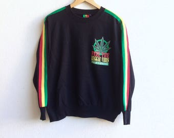 Reggae Rasta! The famous JAMAICA KINGSTON wonder wall feel the reggae vibes big logo at the back sweatshirt bob marley colour large size