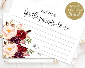 Personalized Advice Card Printable Advice for the Bride&Groom, for the Parents, for Mommy, Advice Card for Wedding Advice Cards Boho Chic