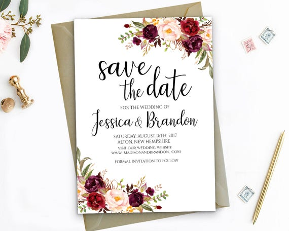 Editable Save The Dates Template Printable Save the Date