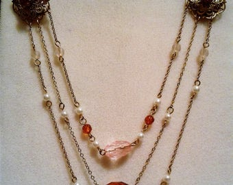 Gold Tone Mixed Bead 3-Strand Chain Necklace