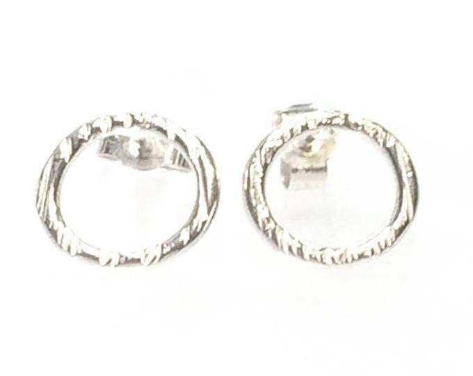 Retro Finish Ring Stud Earrings
