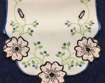 """Vintage Embroidered Table Runner Dresser Scarf with Beautiful Appliqued flowers 37"""" x 12"""""""