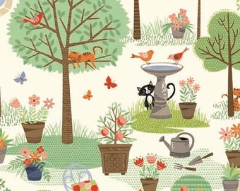Andover Crafty Cats - Garden Cream/Cotton/Fabric/Sewing/Quilting