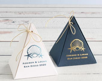 Personalized Pyramid Wedding Favor Box