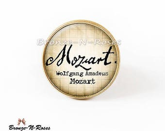 Ring ° ° cabochon music retro vintage Wolfgang Amadeus Mozart glass