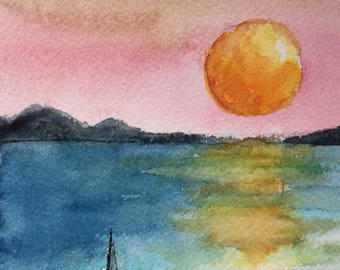 Sunset with Boat greeting card/Watercolor Greeting Card/ Sunset painting/Sunset watercolor/ 5 x 7 card/Card and envelope/Sunset scene