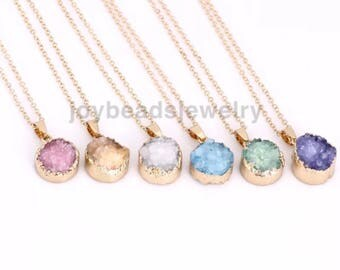 Natural Quartz Crystal Stone Point Chakra Healing Gemstone Pendants Necklace 16mm drusy agate pendant